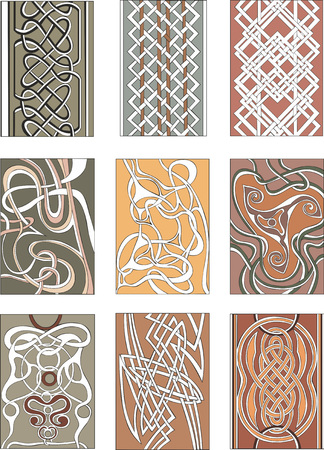 Set of nine vertical knot ornamental patterns in miscellaneous artistic styles for decorative purposes