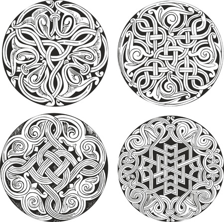 romanesque: Set of four round knot decorative patterns in classic artistic style for illustrative purposes Illustration