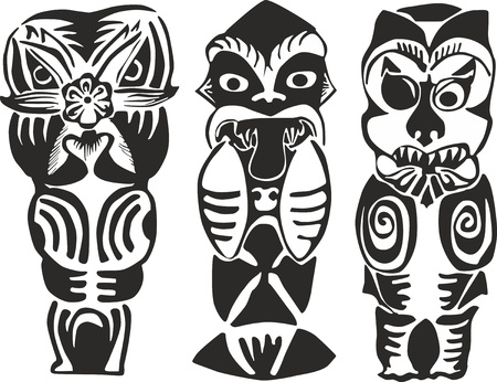 animalistic: Set of three black and white New Zealand Maori totem figures - human ghosts and animalistic deities of natural forces