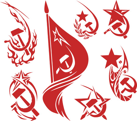 hammer and sickle: Set of red color soviet symbols with stars, flags and sickle and hammer