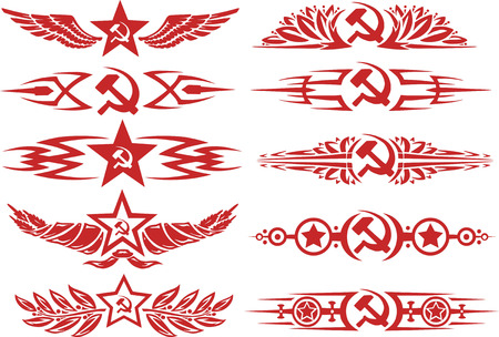 Set of red color soviet decorative typographic vignettes and tattoos with stars, sickle and hammer and other soviet symbols