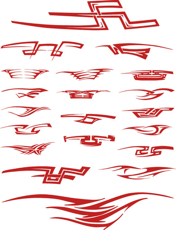 color tribal tattoo: Set of red color tribal tattoo vignettes. Tattoo sketches in forms of geometrical figures, ornamental pinstripe elements and typographic vignettes