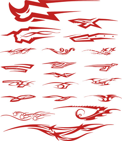 color tribal tattoo: Set of red color tribal tattoo vignettes. Tattoo sketches in forms of moving animal, ornamental pinstripe elements and typographic vignettes