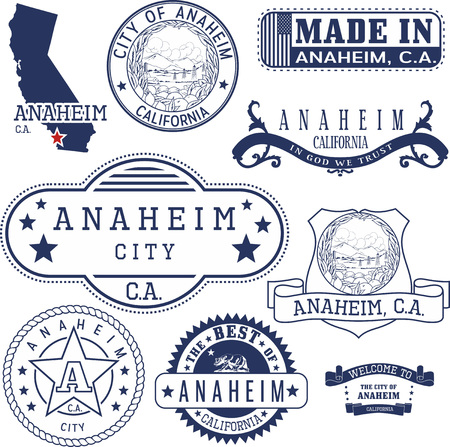 generic: Set of generic stamps and signs of Anaheim city, California Illustration