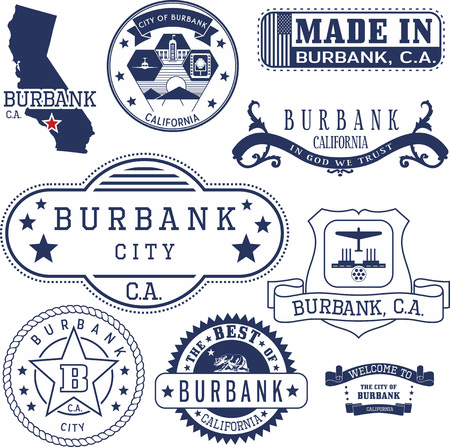 Set of generic stamps and signs of Burbank city, California Banco de Imagens - 66664792