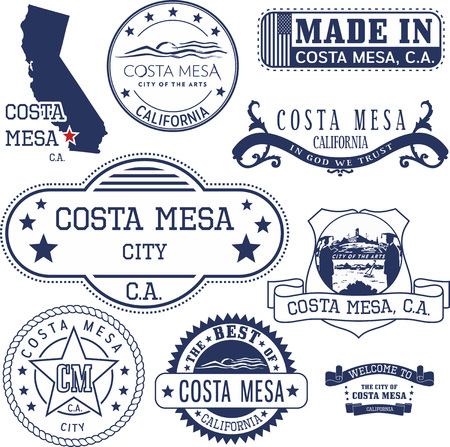 emblematic: Set of generic stamps and signs of Costa Mesa city, California