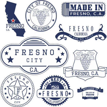 generic: Set of generic stamps and signs of Fresno city, California