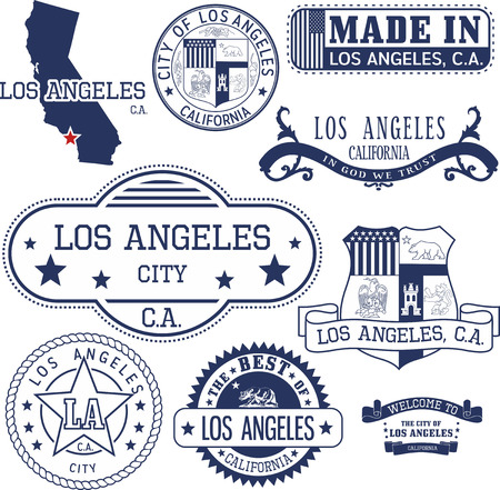 Set of generic stamps and signs of Los Angeles city, California