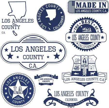 Los Angeles county, California. Set of generic stamps and signs including Los Angeles county map and seal elements.
