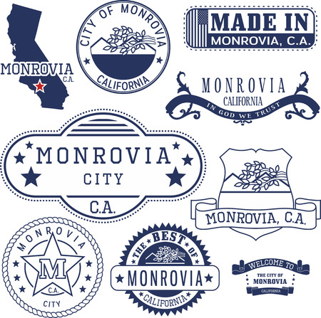 Monrovia city, California. Set of generic stamps and signs.