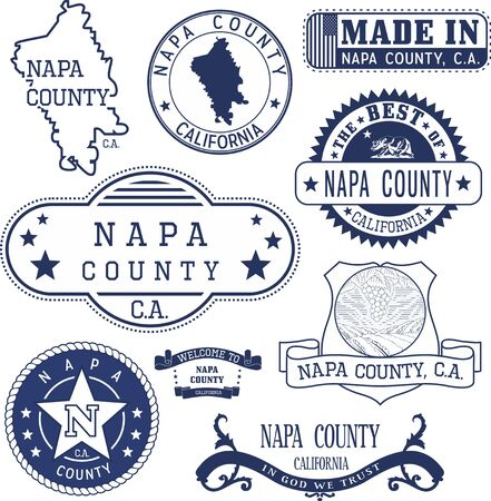 napa: Napa county, California. Set of generic stamps and signs including Napa county map and seal elements. Illustration