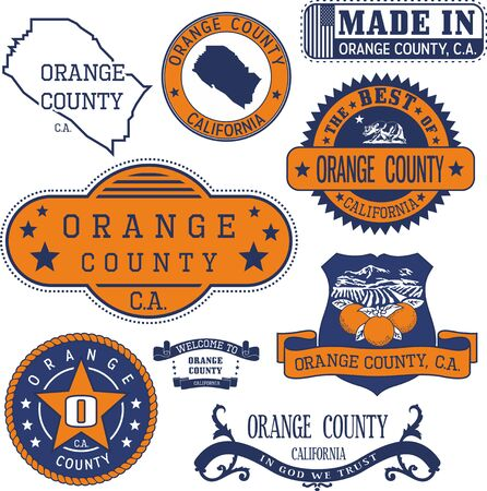 generic: Orange county, California. Set of generic stamps and signs including Orange county map and seal elements.