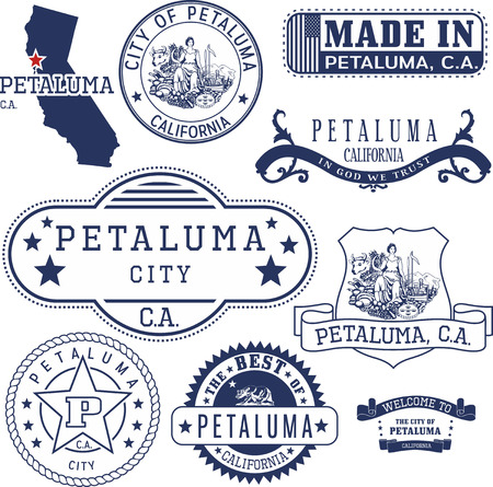 generic: Petaluma city, California. Set of generic stamps and signs.