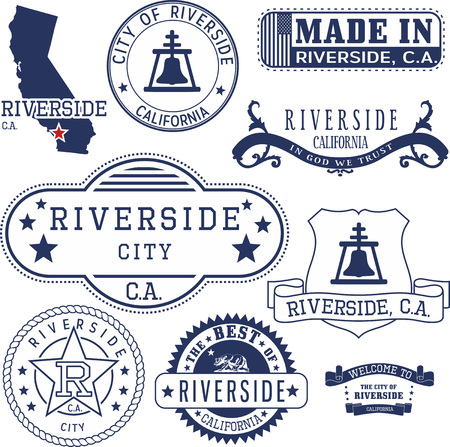 Riverside city, California. Set of generic stamps and signs.