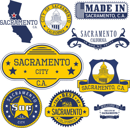 Sacramento city, California. Set of generic stamps and signs.