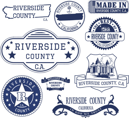 Riverside county, California. Set of generic stamps and signs including Riverside county map and seal elements.