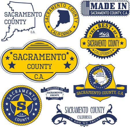 ca: Sacramento county, California. Set of generic stamps and signs including Sacramento county map and seal elements.
