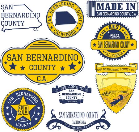 generic: San Bernardino county, California. Set of generic stamps and signs including San Bernardino county map and seal elements.