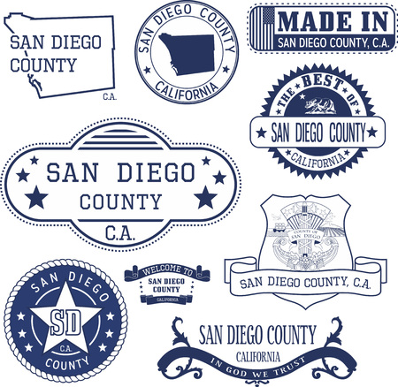 derivative: San Diego county, California. Set of generic stamps and signs including San Diego county map and seal elements.