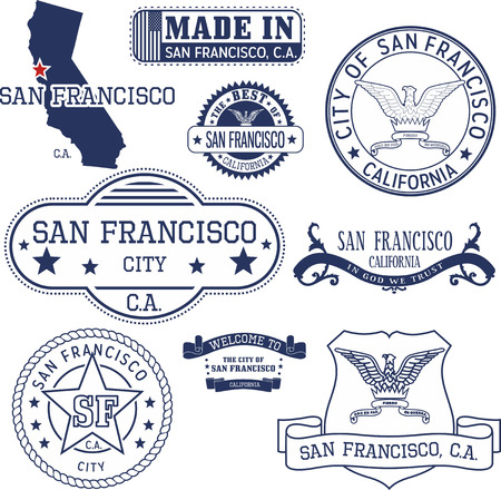 San Francisco city, California. Set of generic stamps and signs.