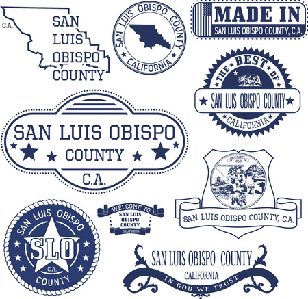 unofficial: San Luis Obispo county, California. Set of generic stamps and signs including San Luis Obispo county map and seal elements.