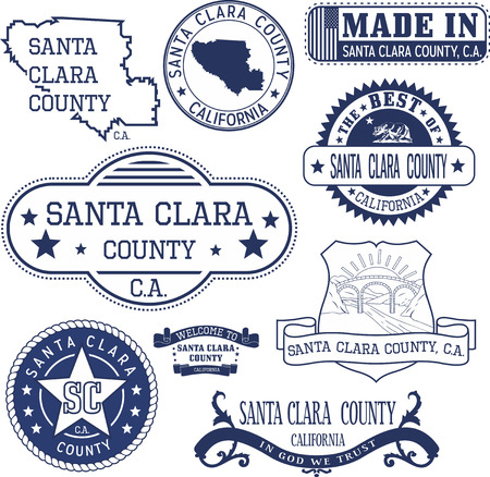 derivative: Santa Clara county, California. Set of generic stamps and signs including Santa Clara county map and seal elements.