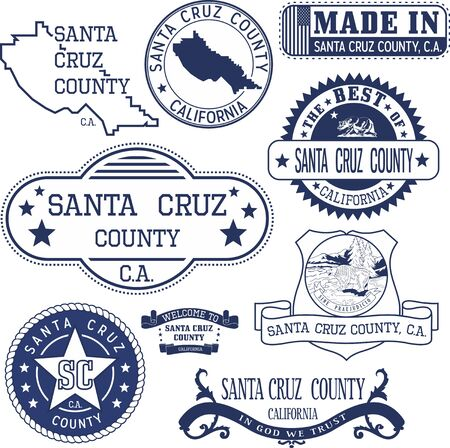 santa cruz: Santa Cruz county, California. Set of generic stamps and signs including Santa Cruz county map and county seal elements.