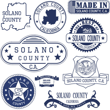 unofficial: Solano county, California. Set of generic stamps and signs including Solano county map and county seal elements. Illustration