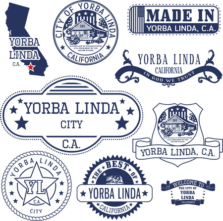 generic: Yorba Linda city, California. Set of generic stamps and signs.