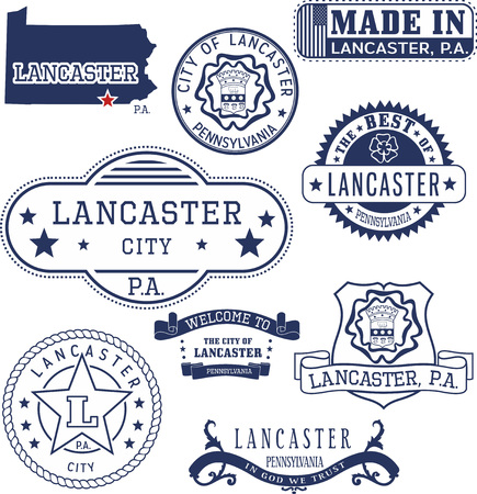 emblematic: Set of generic stamps and signs of Lancaster city, Pennsylvania