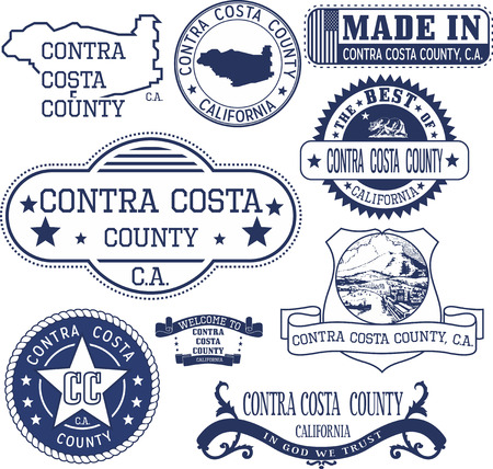 Contra Costa county, California. Set of generic stamps and signs including Contra Costa county map and seal elements. Illustration