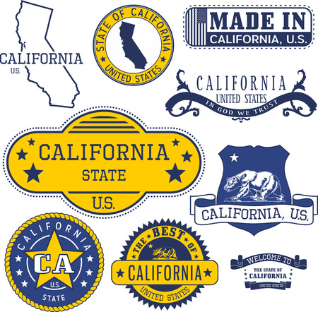 unofficial: Set of generic stamps and signs of California State