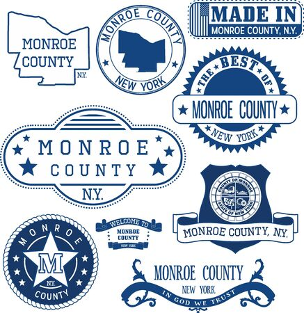 unofficial: Monroe county, New York. Set of generic stamps and signs including Monroe county map and seal elements.