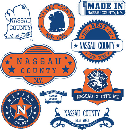 generic: Nassau county, New York. Set of generic stamps and signs including Nassau county map and seal elements.