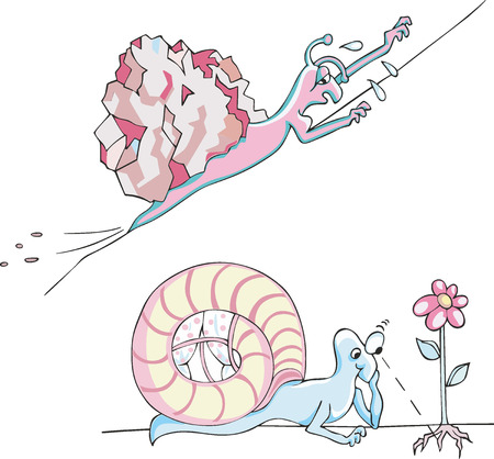 Set of two comic metaphoric snails as a snail dragging a big stone up the hill and a snail as a philosopher Illustration