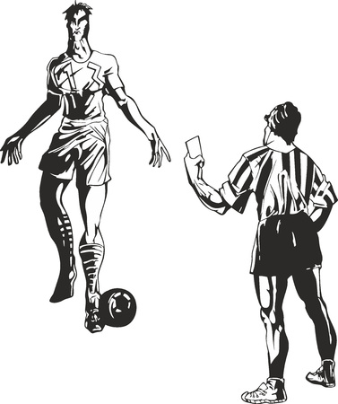 Soccer referee takes a card to player. Black and white sport illustration.