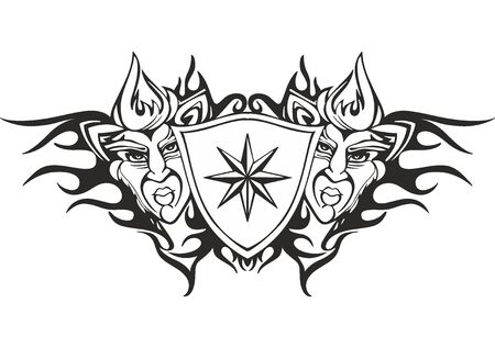 Symmetric tribal flame tattoo template with a star and deity faces