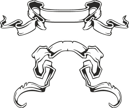 Set of two decorative black and white motto streamers or ribbons Illustration