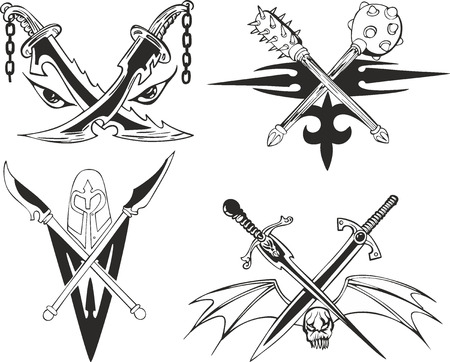 cold steel: Crossed daggers, swords and maces. Set of fantasy tattoo black and white sketches with old-time blades and cold steel arms.