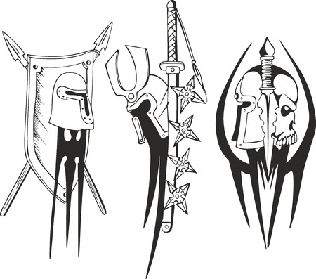 germanic: Set of outline black and white tattoo sketches of Teutonic crusader shields with helmets, spears, sword and dagger