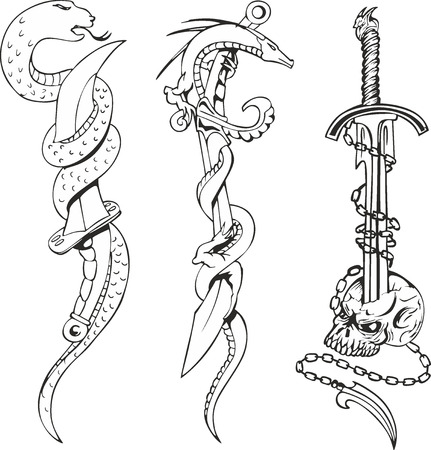 twining: Set of black and white tattoo sketches with snakes entwining daggers and skull