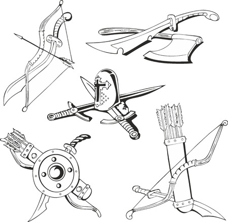 cold war: Set of outline black and white tattoo sketches of blades and old-time weapon - swords, bows and quivers with arrows, axe, shield and helmet