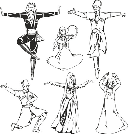 caucasus: Sketches of Caucasian highlander dancers in national costumes. Dancing men and women. Vector set of black and white illustrations.