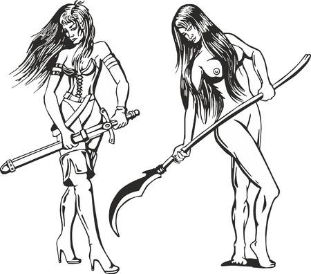 amazon: Fantasy set of two sexy amazon women with blades. Mythical lady warriors. Illustration