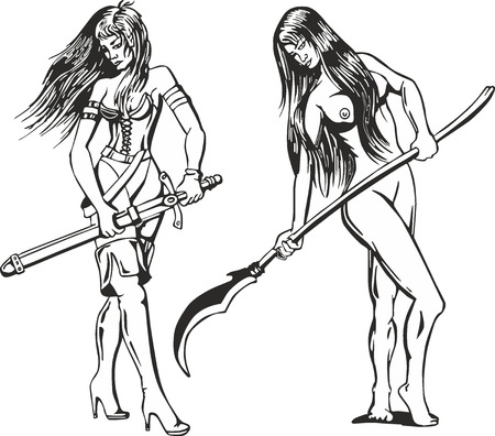 Fantasy set of two sexy amazon women with blades. Mythical lady warriors. Illustration