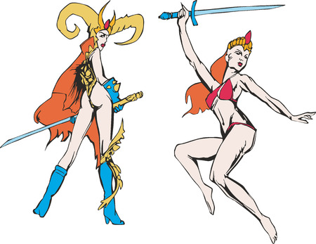 marvel: Fantasy set of two marvellous amazon women with swords. Mythical lady warriors.