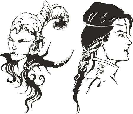 marvel: Fantasy set of two wonder amazon women. Portraits of mythical lady warriors.