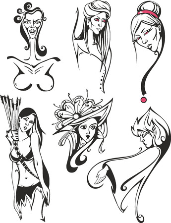 Fantasy black and white set of miscellaneous women and ladies including amazon woman, fairies and witches Illustration