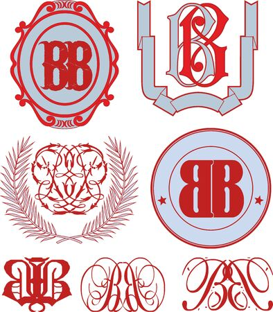 emblematic: Set of BB monograms and decorative emblem templates with two letters BB. Vector collection.