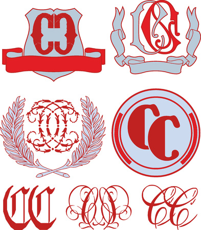 Set of CC monograms and decorative emblem templates with two letters CC. Vector collection.
